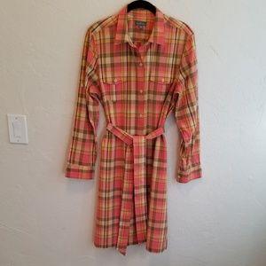 L.L. Bean Signature Mandras Print Shirt Dress 14